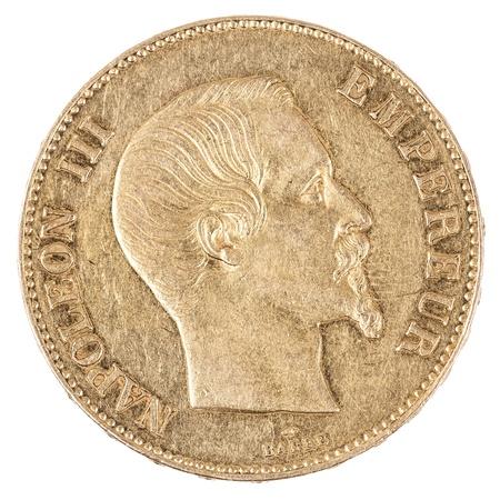 monedas antiguas: moneda de oro famoso con Napoleón, moneda francés antiguo