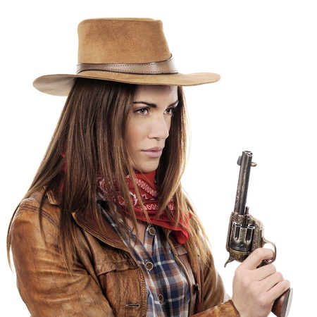 saloon: Beautiful cowgirl with gun on white background