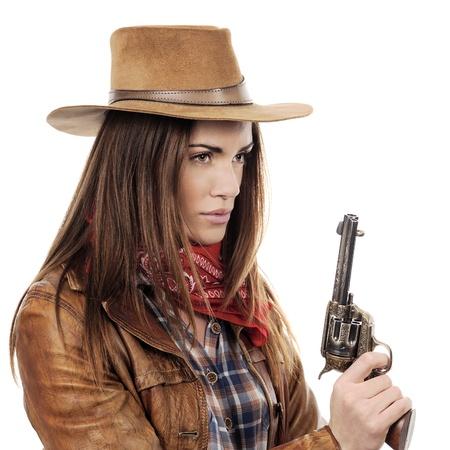 vaqueritas: Cowgirl hermoso con pistola sobre fondo blanco