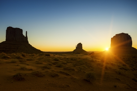 monument valley: Beautiful sunrise at Monument Valley, USA Stock Photo