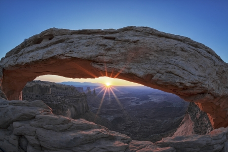 rock formations: Famous sunrise at Mesa Arch in Canyonlands National Park, Utah, USA