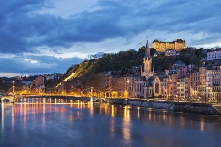 Bridge over river saone at night, Lyon, France Stock Photo - 19102170