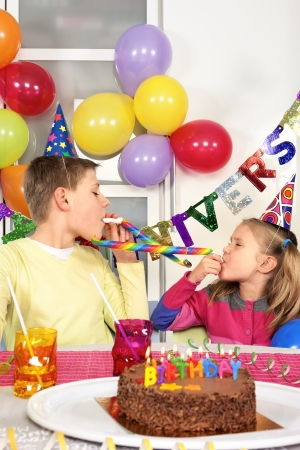novelties: Two children at funny birthday party
