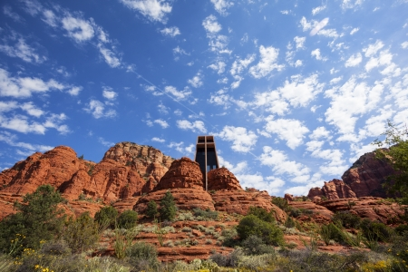 church buildings: The Chapel of the Holy Cross set among red rocks in Sedona Stock Photo