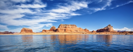 lake powell: panoramic view on famous lake Powell, Page, USA Stock Photo