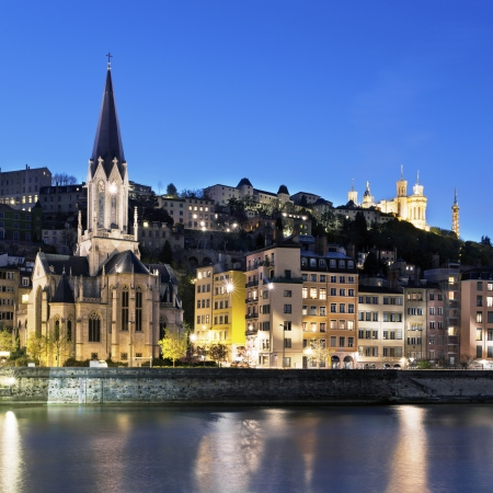 Famous view of Lyon at night Stock Photo