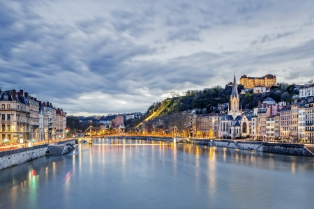 Saone river in Lyon city at evening,  France Imagens