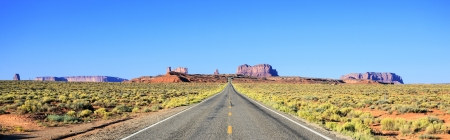 desert highway: Panoramic view of road to Monument Valley, USA