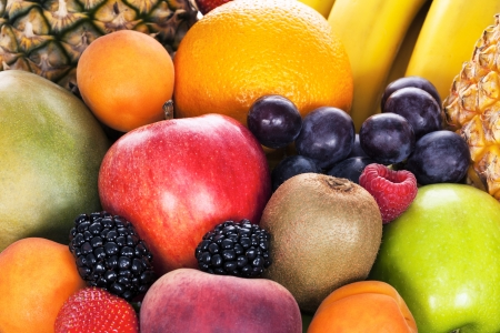 mixed fruit: Assortment of exotic fruits in studio