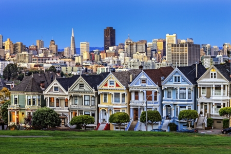 View from Alamo Square at twilight, San Francisco.  Stock Photo