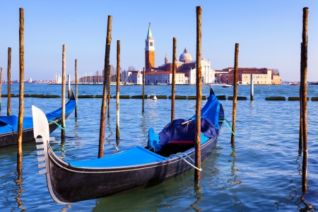 Famous view of San Giorgio maggiore with gondola, Venice Stock Photo - 20245410