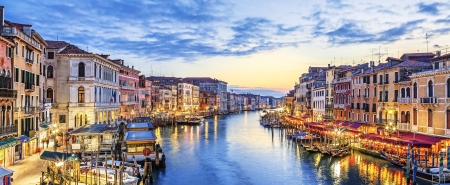 canal street: Panoramic view of famous Grand Canal at sunset, Venice
