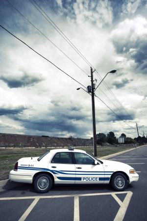 a patrol: Vertical view of cop car  Stock Photo
