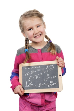 girl holding a slate on white background photo