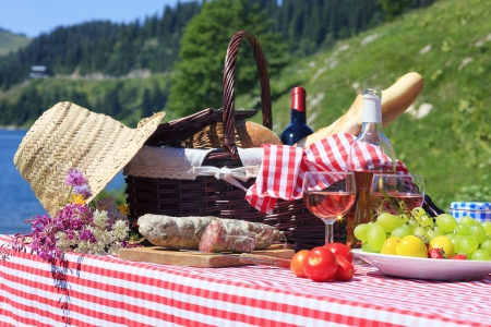 picnic table: Picnic in french alpine mountains Stock Photo