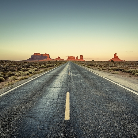 view of road to Monument Valley, USA photo