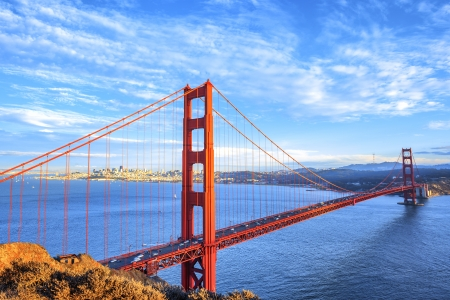 view of famous Golden Gate Bridge in San Francisco, California, USA