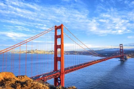 cable bridge: view of famous Golden Gate Bridge in San Francisco, California, USA