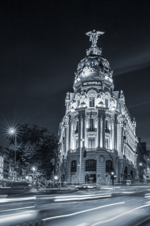 gran via: Gran via street, main shopping street in Madrid at night. Spain, Europe.