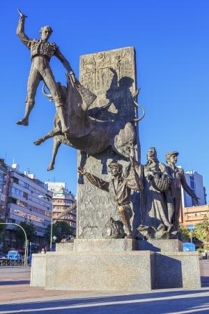 plaza de toros: Bullfighter sculpture in front of Bullfighting arena Plaza de Toros de Las Ventas in Madrid, Spain