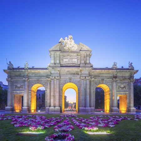 View of Puerta de Alcala at sunset, Madrid, Spain photo
