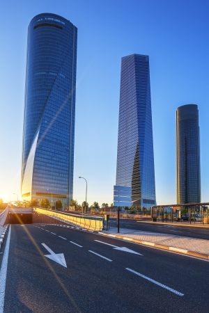 four modern skyscrapers at sunrise(Cuatro Torres) Madrid, Spain photo