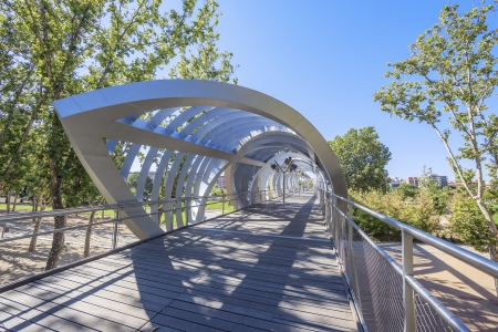 helicoid: Famous Arganzuela Bridge in Madrid Rio Park, Madrid, Spain