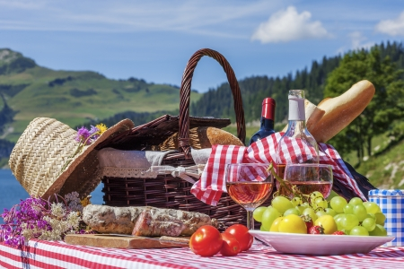View of picnic in french alpine mountains with lake photo