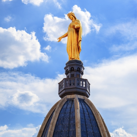 our: Famous Golden Statue of Virgin Mary, Lyon Stock Photo