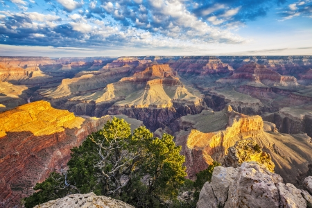 grand canyon national park: View of Grand Canyon with morning light, USA
