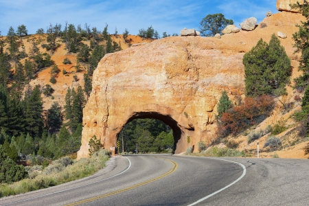 Red Arch road tunnel on the way to Bryce Canyon  photo