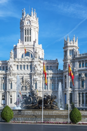 Cibeles Palace at the Plaza de Cibeles in Madrid, Spain