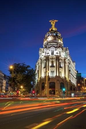 gran via: Rays of traffic lights on Gran via in Madrid at night. Spain, Europe. Editorial
