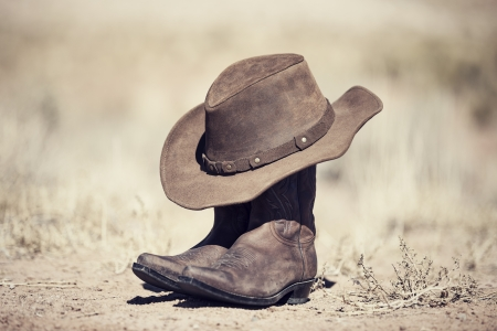 western background: Boots and hat, old style processing