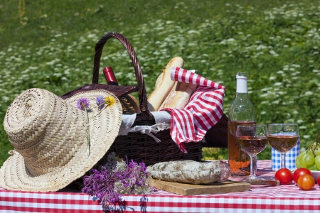 View of picnic in french alpine mountains photo