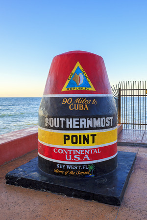 southernmost: The Key West, Florida Buoy sign marking the southernmost point  Editorial
