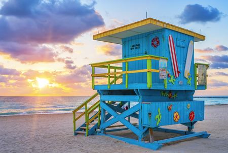 miami south beach: View of famous Miami South Beach sunrise with lifeguard tower