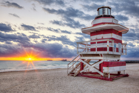 lifeguard tower: Famous Miami South Beach sunrise with lifeguard tower