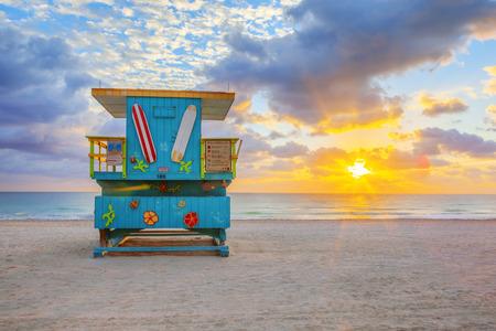 lifeguard tower: Miami South Beach sunrise with cute lifeguard tower
