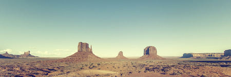 national monuments: Panoramic view of Monument Valley with special photographic processing