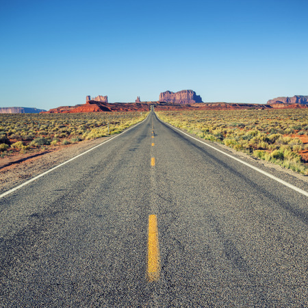 national monuments: Famous road to Monument Valley, USA  Stock Photo
