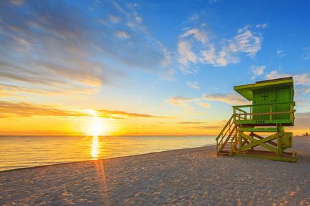 miami south beach: Miami South Beach sunrise with lifeguard tower Stock Photo