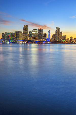Miami Florida, sunset  with business and residential buildings, vertical view
