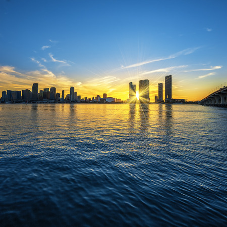 Miami Florida, sunset  with business and residential buildings, USA  photo