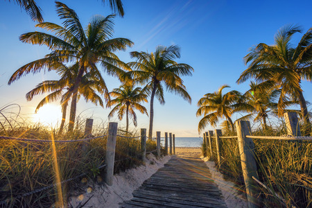 dream lake: Famous passage to the beach - Key West  Stock Photo