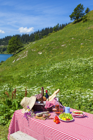 Picnic in french alps with lake  photo