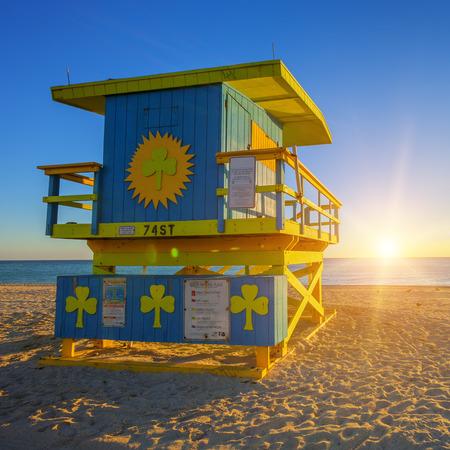 miami south beach: Miami South Beach sunrise with lifeguard tower, USA