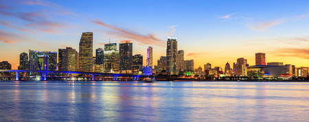 miami sunset: sunset  with business and residential buildings, Miami, panoramic view, USA Stock Photo