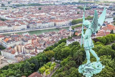georges: Aerial view of Lyon from the top of Notre Dame de Fourviere