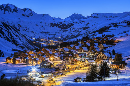 european alps: View of Saint Jean dArves village by night in winter, France